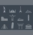 landmark icons set vector image