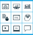 marketing icons set collection of intellectual vector image vector image