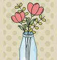 mason jar flowers foliage decoration dots vector image vector image