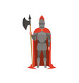 medieval armed knight character in red mantle vector image vector image