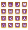 molecule icons set purple square vector image vector image