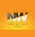 nw n w letter modern logo design with yellow vector image vector image