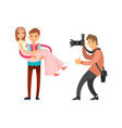 photo reporter takes pictures groom holding bride vector image