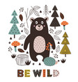 poster bear and hedgehog in forest vector image vector image