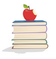 Red apple on a stack of books vector image