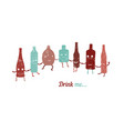 retro poster drink me set of funny bottles vector image vector image
