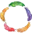 round frame with watercolor feathers vector image vector image