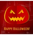 Scary halloween pumpkin with red eyes and smile vector image vector image