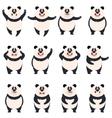 set flat panda icons vector image vector image