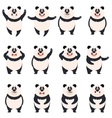Set of flat panda icons vector image vector image