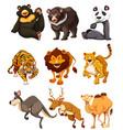 set of wild animal character vector image vector image