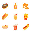 tasty fast food icons set cartoon style vector image vector image
