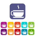 tea cup and saucer icons set flat vector image vector image
