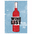 wine list typographical vintage grunge poster vector image vector image