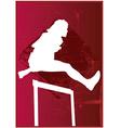 Woman hurdling vector image vector image