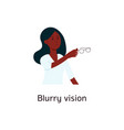 woman with blurred vision holding glasses cartoon vector image