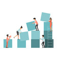 work team people building cubes vector image vector image