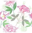 Seamless pattern with pink peonies and rose vector image
