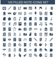 100 note icons vector image vector image