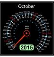 2015 year calendar speedometer car in October vector image vector image
