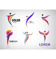 abstract man logos set positive healthy vector image