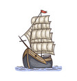 ancient beautiful ship with sails vector image vector image