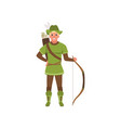 archer with bow european medieval character in vector image vector image
