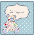 Background with banner and bear toy vector image vector image