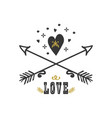 black and golden hand drawn heart and arrows vector image vector image
