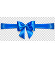 blue bow with horizontal ribbon vector image vector image