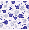 blue teapots seamless pattern design vector image