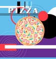 bright poster with pizza on a geometric vector image