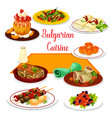 bulgarian cuisine icon of lunch with dessert vector image vector image