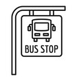 bus stop sign icon outline style vector image