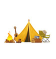 camping concept with tent guitar bonfire chair vector image