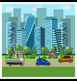 city landscape with skyscrapers vector image vector image