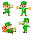 collection of leprechaun with cup of beer vector image