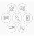 Computer web camera and mobile phone icons vector image vector image