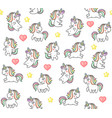 cute unicorns and hearts seamless pattern on white vector image