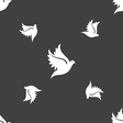 Dove icon sign Seamless pattern on a gray vector image vector image