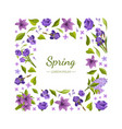 floral square frame with beautiful spring flowers vector image vector image