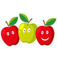 Fresh apple with happy faces vector image vector image