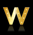 golden letter w shiny symbol vector image vector image