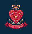 greeting card in heart form happy holidays vector image vector image