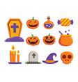 halloween element symbol set flat deign symbols vector image vector image