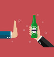 hand gesture rejection a bottle beer vector image vector image