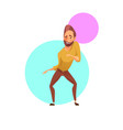 handsome man winking and dancing vector image vector image