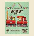 happy birthday invitation blue card vector image