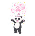 happy birthray panda sticker on white backround vector image vector image