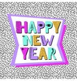 Happy new year banner in Memphis style vector image vector image